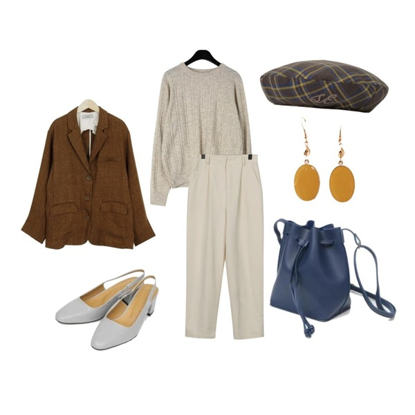 From Beginning Made_outer-118_linen standard jacket_M (size : free),From Beginning Frank wide cotton pants_M (size : S,M),daily monday Soft twidle wool knit등을 매치한 코디