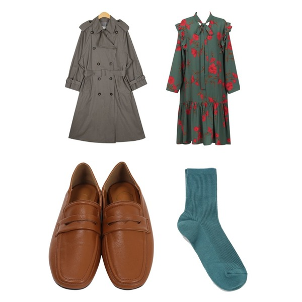 AIN summit trench coat,From Beginning Skin two-way loafer_H (size : 230,235,240,245,250),From Beginning Tie flower frill ops_B (size : free)등을 매치한 코디
