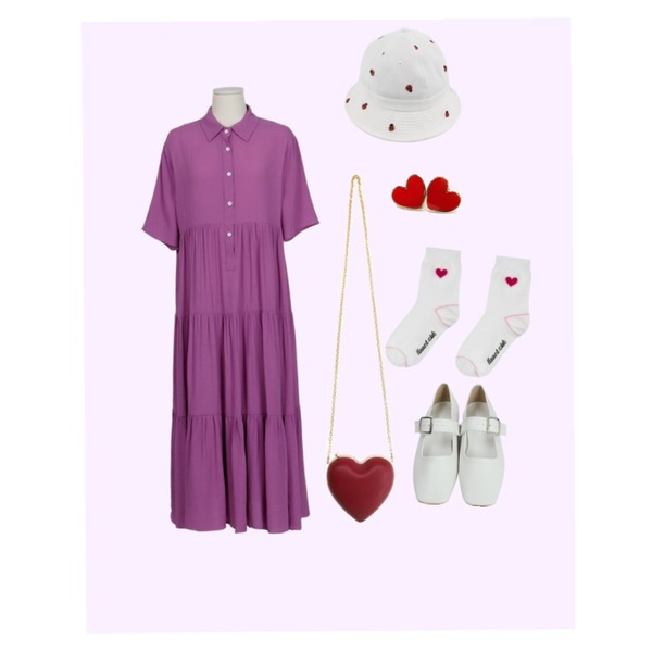 Rough & Detail embroidery soldier´s straw, hat,Magenta ,From Beginning Violet tencel maxi ops_S (size : free)등을 매치한 코디