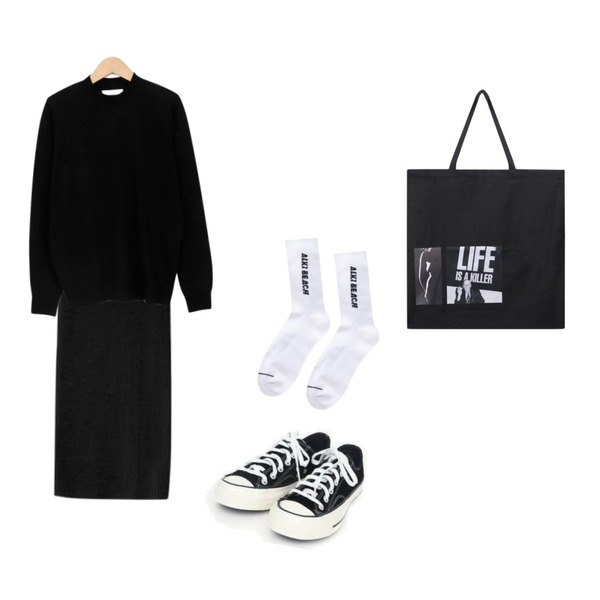 AIN coloring canvas sneakers (225-250),ENVYLOOK 루키니트스커트,From Beginning Little half neck knit_S (size : free)등을 매치한 코디