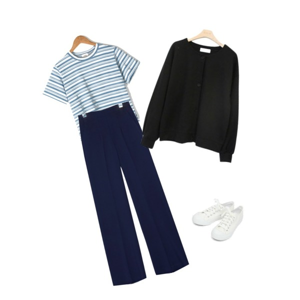AIN basic monday sneakers (230-250),BANHARU natural fit daily stripe tee,common unique [BOTTOM] MIND SIDE ZIPPER STRAIGHT SLACKS등을 매치한 코디