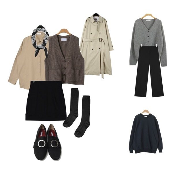 WHOSGIRL 코트안에 쏙!! 울 가디건 (3 colors),AIN side zipper track pants,daily monday Ordinary double trench coat등을 매치한 코디