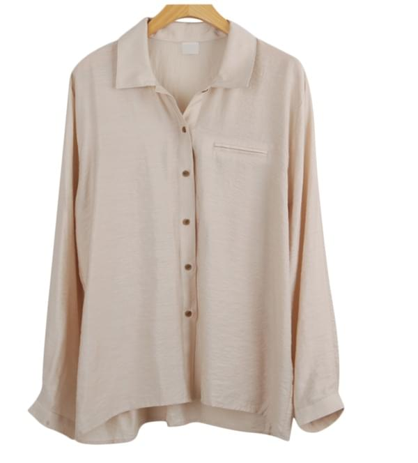 Smooth texture beige blouse