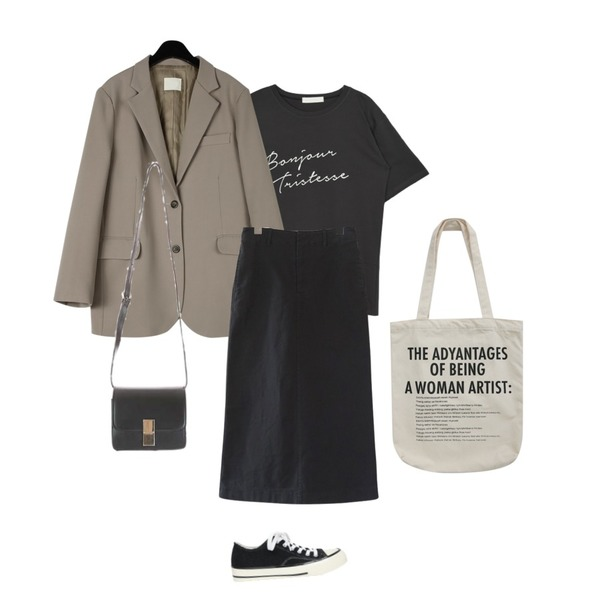 AIN corduroy line daily sneakers (230-250),MIXXMIX Bonjure Lettering Top,daily monday Mannish single jacket등을 매치한 코디