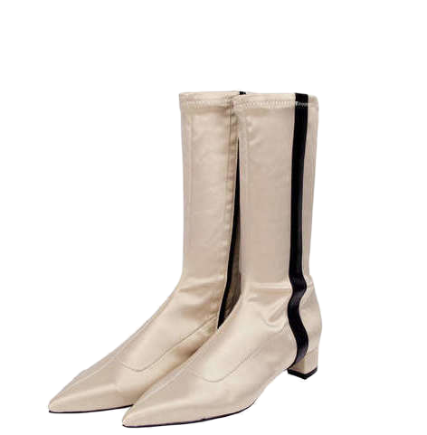 pointed line satin middle boots (2 color)
