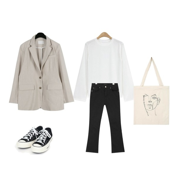 AIN nancy boots-cut cotton pants (s, m, l),daily monday Mannish linen over jacket,NEW NEED NOW 데이리 라운드 티셔츠(5color)등을 매치한 코디