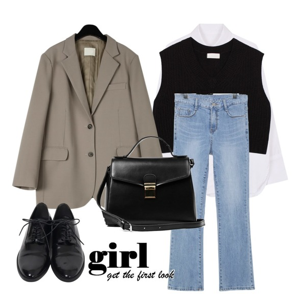 biznshoe Pocket cuffs shirt,biznshoe Crop knit vest (3color),daily monday Mannish single jacket등을 매치한 코디