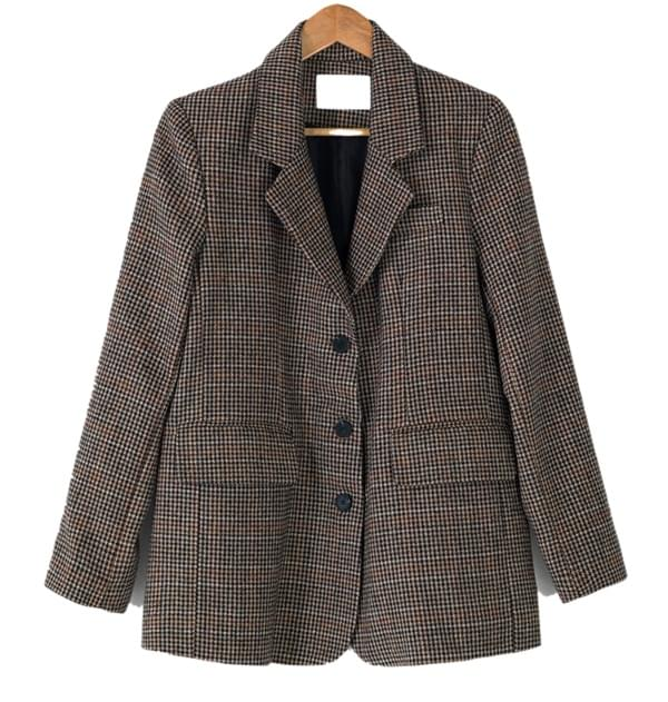 3-button hound check jacket
