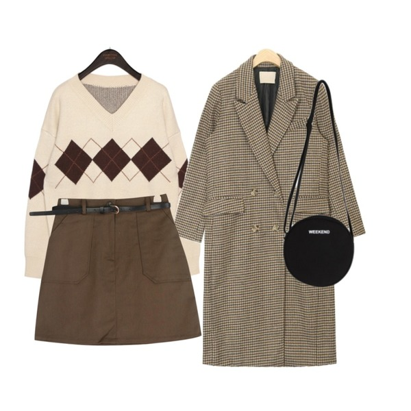 AIN most vintage check wool coat,common unique [TOP] SMOOTH WOOL ARGYLE V NECK KNIT,GIRLS RULE 코튼 왕포켓 벨트스커트 (sk1362)등을 매치한 코디
