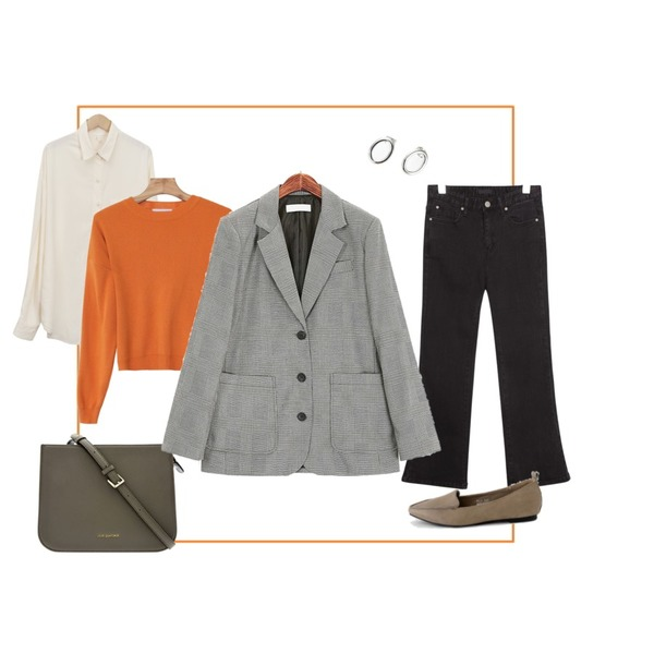 Orange Frame,common unique [BOTTOM] FADE BOOTS CUT 9 DENIM PANTS,크로스백2등을 매치한 코디