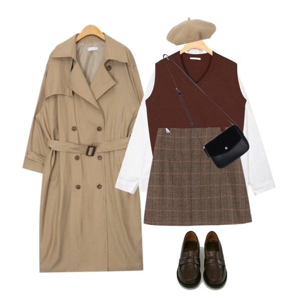 AIN maxi long square belt trench coat (3 colors),AIN one day basic shirts,AIN mayo v-neck wool vest등을 매치한 코디