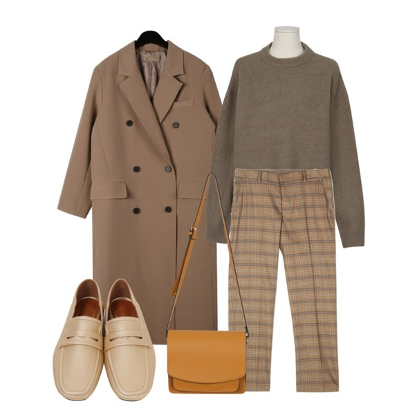 daily monday Modern double button long jacket,From Beginning Curling hair round knit_S (size : free),openthedoor retro check slacks (2 color) - UNISEX등을 매치한 코디