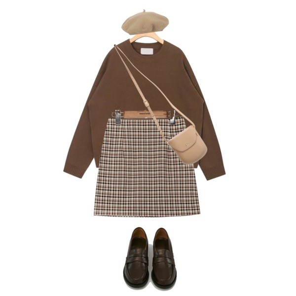 AIN modern slit point unbalance knit,common unique [SKIRT] VINTAGE CHECK H LINE MINI SKIRT,Zemma World MA-Buttering (bag)등을 매치한 코디