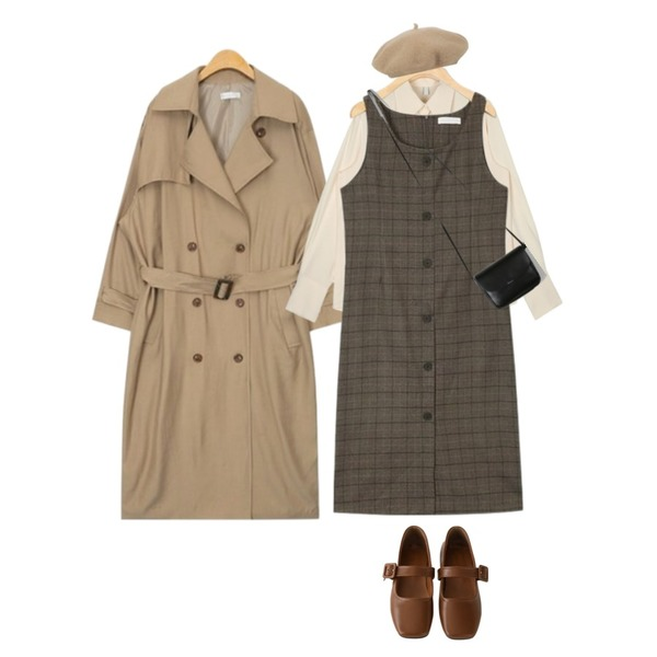 AIN maxi long square belt trench coat (3 colors),AIN blow button check ops,AIN show cuffs blouse등을 매치한 코디