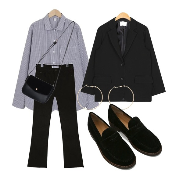 common unique [BOTTOM] MUSE BOOTS CUT COTTON PANTS,From Beginning Owner stripe shirts_B (size : free),AIN tom standard basic jacket등을 매치한 코디