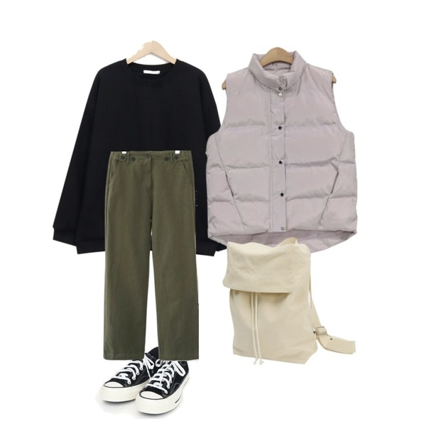 From Beginning In the cotton backpack_S (size : one)[예약주문 :아이보리 10/04 입고],NEW NEED NOW 솔트 패딩 베스트(3color),From Beginning This place mtm_K (기모) (size : free)등을 매치한 코디