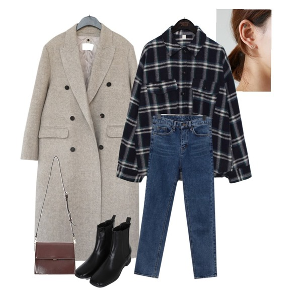 daily monday Silver simple heart earring(silver 925),common unique [TOP] OWNER TARTAN CHECK SHIRTS,AFTERMONDAY duck down inner handmade coat (3colors)등을 매치한 코디