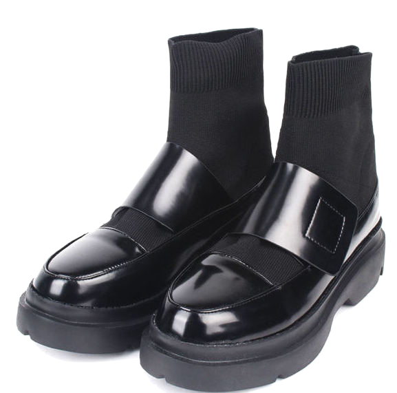 leather velcro socks boots