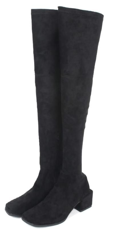 square line suede thigh-high boots (2 color)
