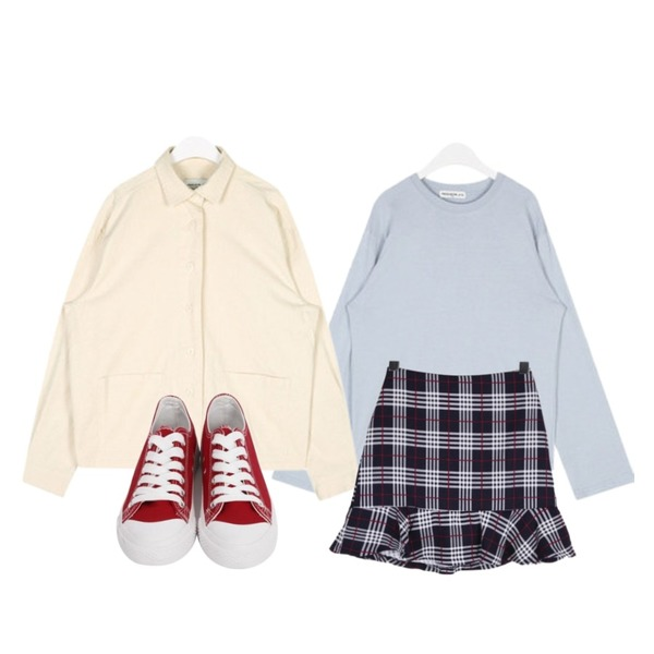 AIN FRESH A soft cotton T,BULLANG GIRL 이젠가을준비체크SK,AIN FRESH A daily cotton jacket등을 매치한 코디