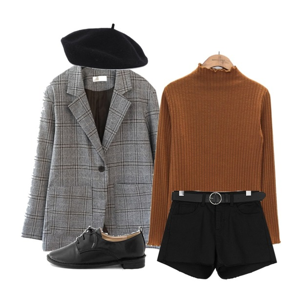 common unique [TOP] GOLGI RUFFLE HALF NECK T,ROCOSIX 블랙 스판 숏팬츠 벨트set,AFTERMONDAY tartan check set - jacket등을 매치한 코디