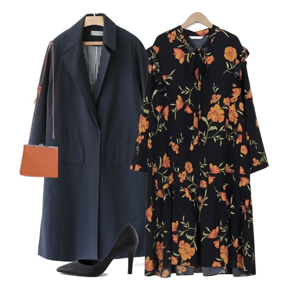AFTERMONDAY side slit raglan coat(2colors),SUNSHINE WITH ME 셀르-bag,From Beginning Tie flower frill ops_B (size : free)등을 매치한 코디