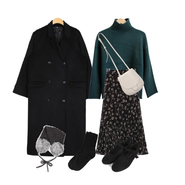 common unique [SKIRT] DANDELION FLOWER CREASE SKIRT,dearbutton 더스트 도리 터들넥 니트 (7colors),AIN gentle handmade coat (wool80%)등을 매치한 코디