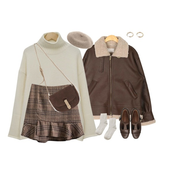 From Beginning Sugar half turtle knit_J (size : free),MASHYELLOW 언발 러플 체크 미니 스커트 (2colors),AIN canada leather mustang등을 매치한 코디