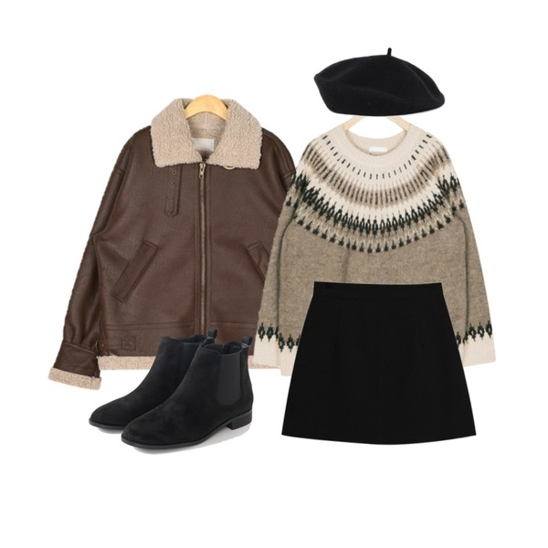 TODAY ME 로엘라 스커트,AIN bobby snow knit,AIN canada leather mustang등을 매치한 코디