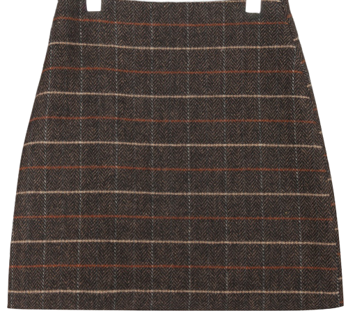 HERRINGBONE CHECK WOOL MINI SKIRT