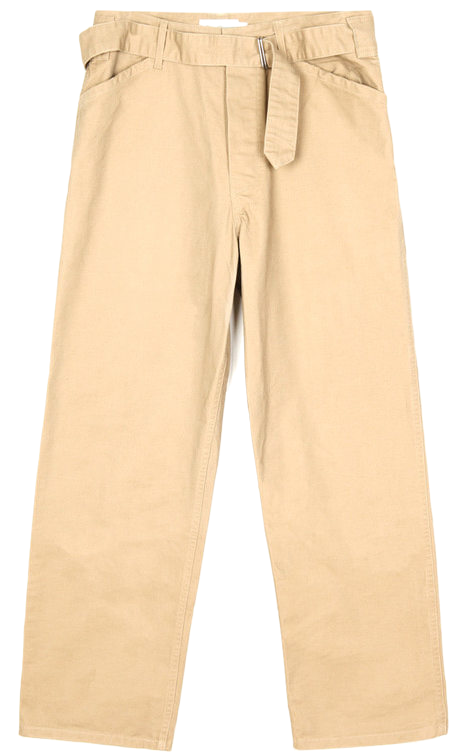 SALE belted cotton wide pants