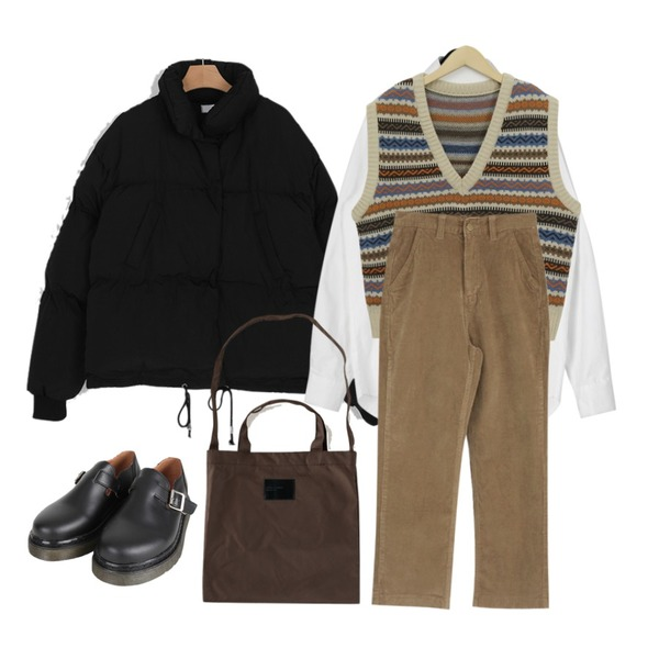 From Beginning Note vintage knit vest_S (size : free),somedayif must short padding (2colors),daily monday Warm cotton shirts등을 매치한 코디