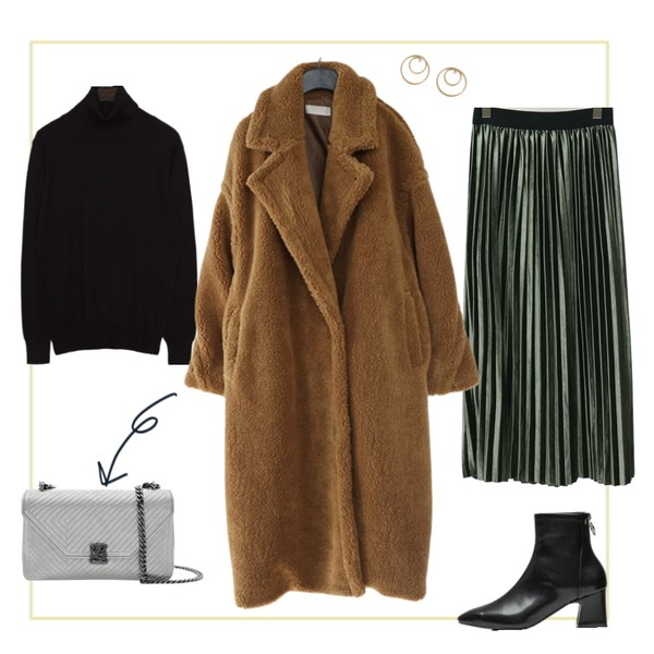 Untitled,common unique GROVE BASIC TURTLE NECK KNIT,From Beginning Soft velvet pleats skirt_S (size : free)등을 매치한 코디