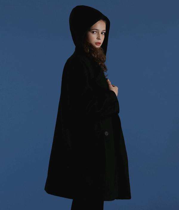 Hooded double button coat