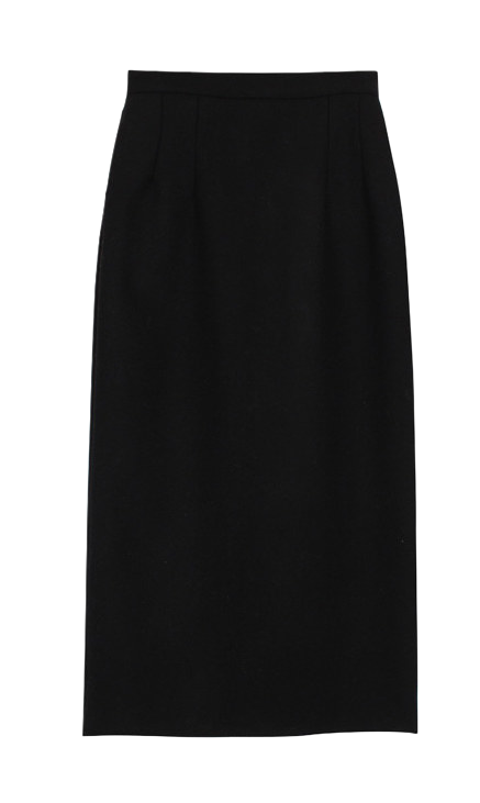 Wool maxi slit skirt