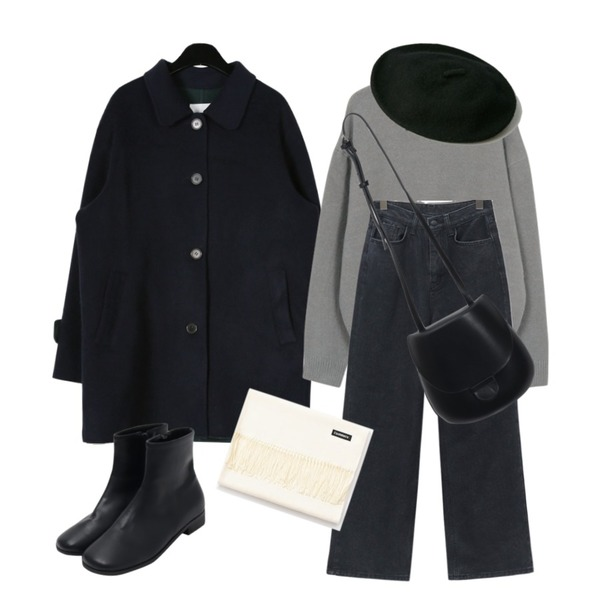 From Beginning Curling hair round knit_S (size : free)[예약주문 : 10월 25일 입고 후 순차적배송],daily monday Seperate color half handmade coat,From Beginning Muse winter wide denim_B (기모) (size : S,M,L)등을 매치한 코디