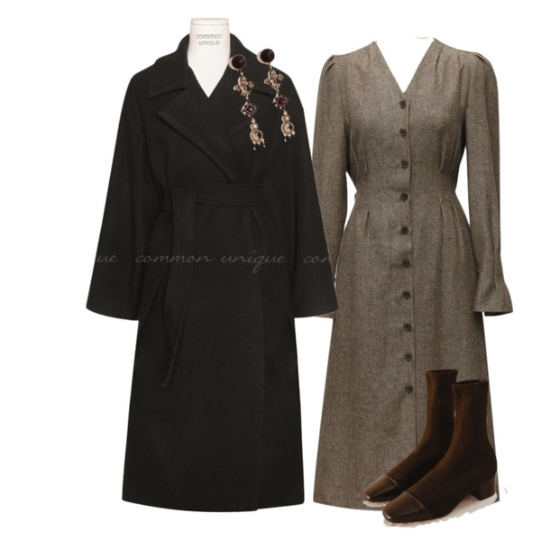common unique GOLGI MIDDLE SOCKS ANKLE BOOTS,common unique [OUTER] SEASON STRAP SLIT ROBE LONG COAT,From Beginning Jully herringbone strap ops_H (size : free)등을 매치한 코디