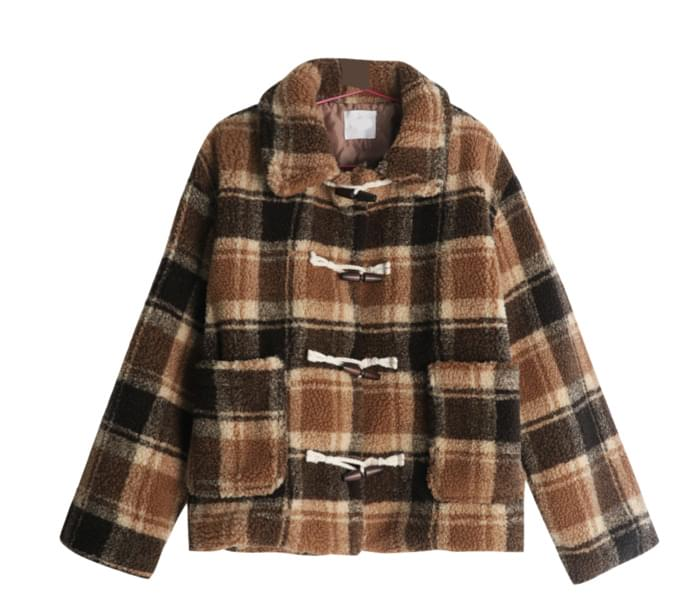 Almond wool check duffel coat