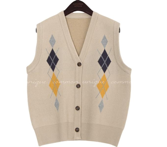 FRANK ARGYLE BUTTON KNIT VEST