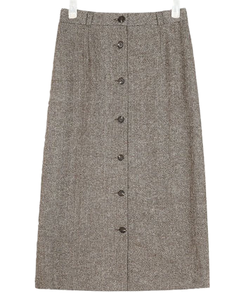 front button herringbone skirt