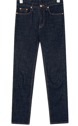 indigo slim denim pants