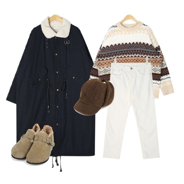 AIN bound wool nordic knit,AIN aden napping cotton pants (s, m),AIN pino long safari jumper등을 매치한 코디