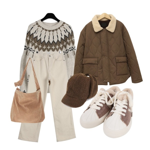 daily monday Nordic pattern round knit,daily monday Napping wide cotton pants,From Beginning Walnut quilting jumper_M (size : free)등을 매치한 코디