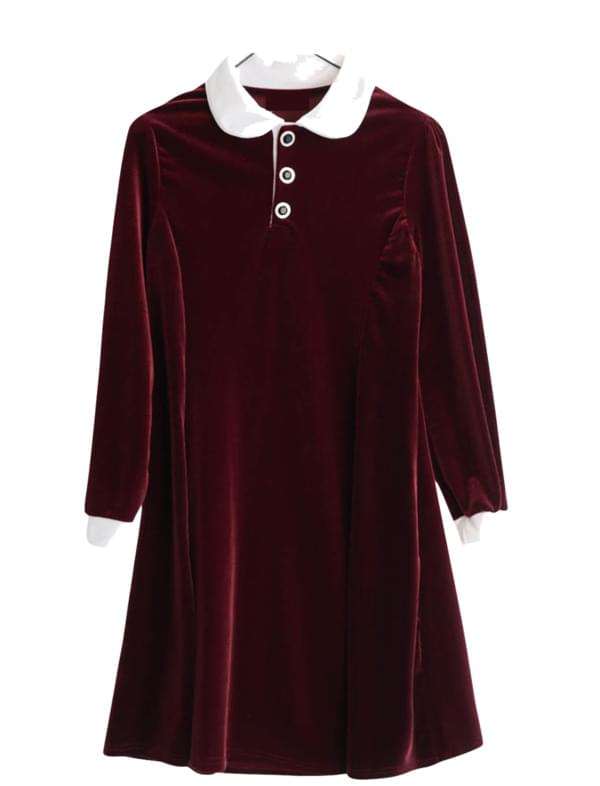Velvet antique button dress