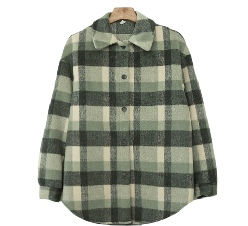 Tone check shirt jacket