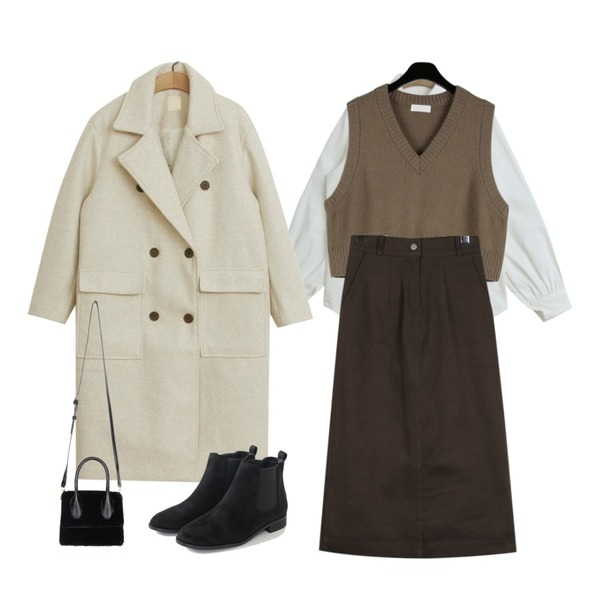 daily monday Cute v-neck knit vest,daily monday Cocoa cotton long skirt,TODAY ME 네이슨 셔츠등을 매치한 코디