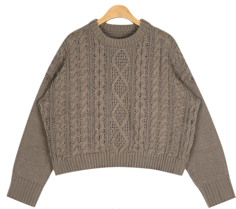 drop round cable knit