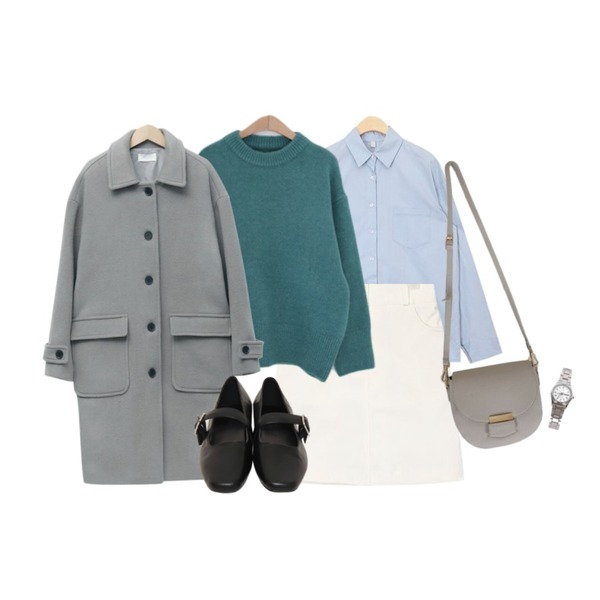 AIN mary cotton mini skirt,AIN one day basic shirts,LOVELY SHOES 아벤츠 라운드 니트등을 매치한 코디