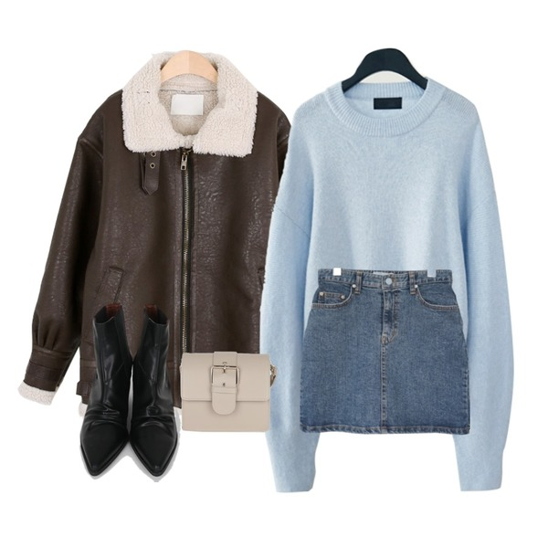 AFTERMONDAY tender color knit (3colors),AFTERMONDAY cute denim mini skirt,MOREDAY 어반 무스탕 (2color)등을 매치한 코디
