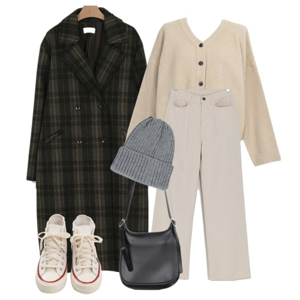 AWAB 델리브이가디건니트,BANHARU basic high-waist maxi pants,somedayif wool check double coat (2colors)등을 매치한 코디
